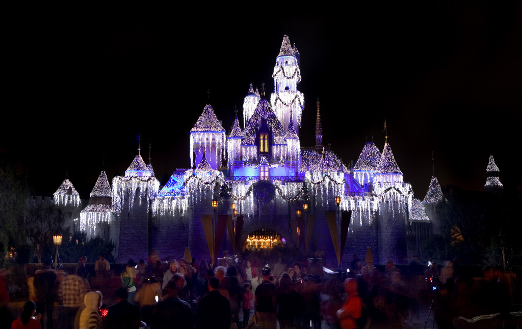 Sleeping Beauty Castle Snow Overlay at Disneyland