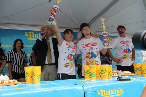 Nathan's hot dog eating contest at New York-New York Las Vegas