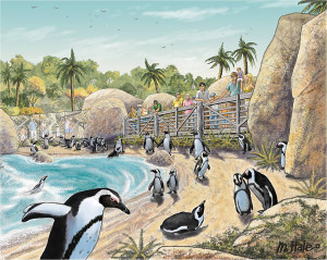 Africa Rocks Penguin rendering