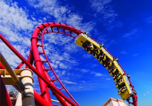 Roller coaster at New York New York in Las Vegas